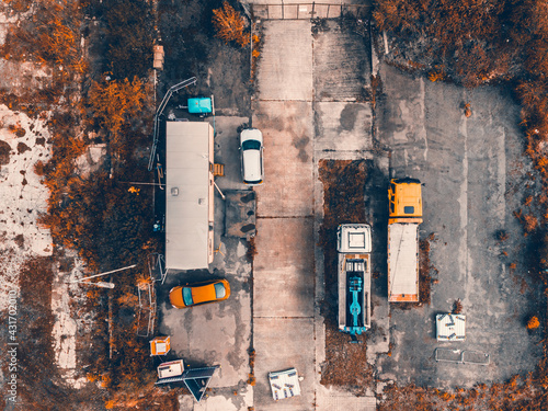 An aerial shot of a construction site in Sheffield taken on a drone Fotobehang