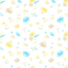 Blue Seamless Sea Life Background With Sea Elements. Ornate Maritime Decor From Drops. Spotty Sea Backdrop