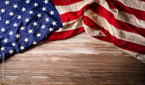 Tablou Canvas Happy memorial day concept made from american flag on old wooden background