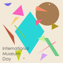International Museum Day Poster Background For Museum Of Contemporary Art Modern Logo Icon Emblem Abstract Geometric Design Style Fashion Print Clothes Apparel Greeting Invitation Card Cover Flyer