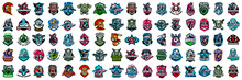 Huge Set Of Colorful Sports Logos, Emblems. Logos Of Knights, Horses, Soldier, Skull, Superhero, Soccer Ball, Cowboy, Firefighter, AircraftastronautswordsVector Illustration Isolated On Background