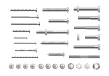 Metal Bolt And Screw. Realistic Steel Nails, Rivets, Stainless Self Tapping Screw Heads With Nuts