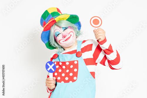 Fotografija 白背景の前に立って、OKとNGのプラカードを持つピエロ