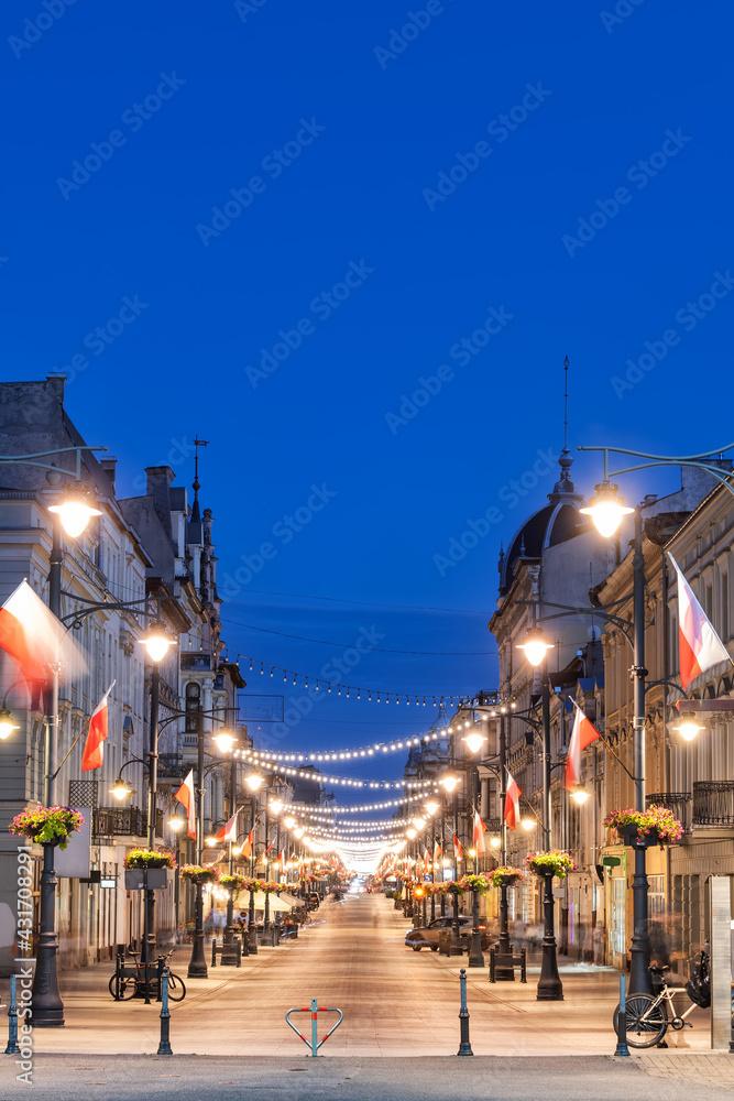 Fotografie, Obraz Piotrkowska Street in City of Lodz at Night in Poland