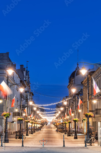 Canvas Piotrkowska Street in City of Lodz at Night in Poland