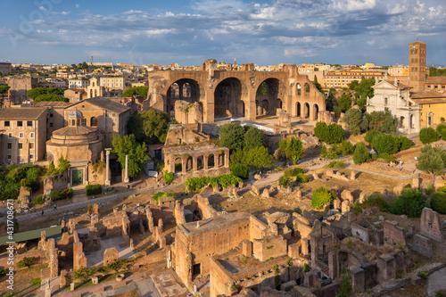 Obraz na plátně Sunset at Roman Forum in Rome