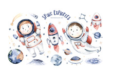 Astronaut Baby Boy Girl Space Suit, Cosmonaut Stars, Planet, Moon, Rocket And Shuttle Isolated Watercolor Space Ship Illustration On White Background,