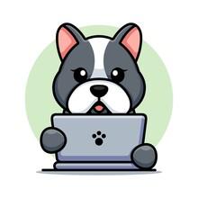 Cute Dog With Laptop Cartoon Design