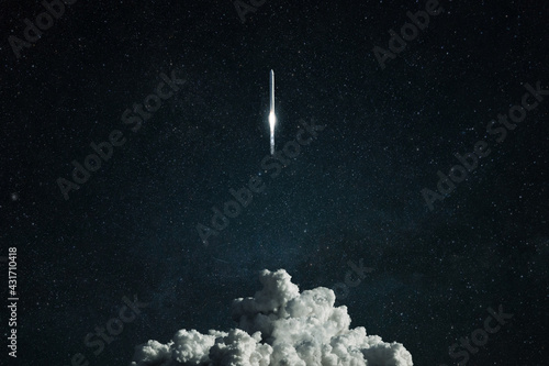 Fototapeta New spacecraft overcomes gravity and lift off into deep space. Successful rocket launch, concept obraz