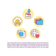 Distribution And Digital Transmission Concept Line Icons With Text. PPT Page Vector Template With Copy Space. Brochure, Magazine, Newsletter Design Element. Copyright Law Linear Illustrations On White