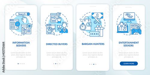 Fotografiet Internet client behavior onboarding mobile app page screen with concepts
