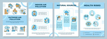Air Pollution Brochure Template. Outdoor Air Pollution. Flyer, Booklet, Leaflet Print, Cover Design With Linear Icons. Vector Layouts For Presentation, Annual Reports, Advertisement Pages