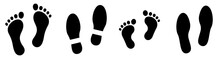 Footprint Vector Set. Footprint Silhouette. Simple Footprints Set Vector