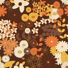 Yellow, Orange And Brown Vintage Flowers Seamless Background