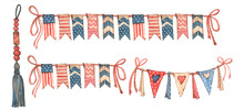 Watercolor Hand-made Illustrations 4th Of July Clipart USA American Flag. Set Of Elements In Patriotic Style Stars And Stripes Red And Blue Colors White Background Overlay For Scrapbooking