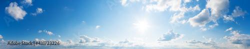 Fotografia, Obraz Blue Sky background with tiny Clouds. Panorama background