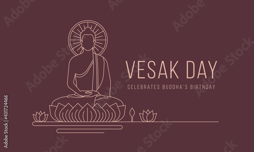 Fototapeta Vesak day banner with abstract modern line drawing The Lord Buddha meditated on lotus vector design obraz