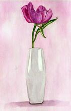 Vaso Con Grande Fiore Lilla, Acquerello
