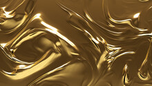 Liquid, Glistening, Smooth Texture. A Golden Surface For Metallic, Gold Backgrounds.