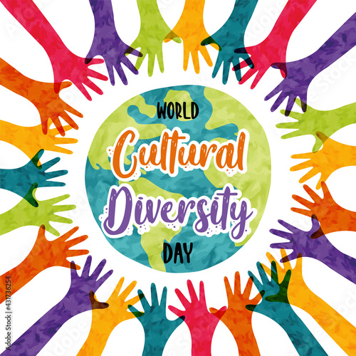 Cultural Diversity colorful diverse people card - fototapety na wymiar