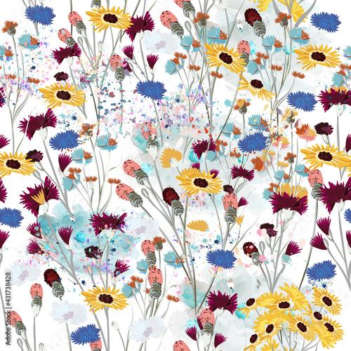Fototapeta Field vector wild flowers meadow seamless pattern obraz