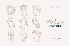 Linear Drawings Of Heads Of Antique Statues Of The Goddess And Mythical God In The Engraving Style. Creative Minimal Linear Woman Vector With Growing Branch From Her Head.