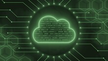 Digital Cloud Computing Concept In Green - Binary Code Into Data Cloud Between Information Connecting Lines And Blur Honeycomb Elements On Background - 3D Illustration