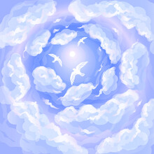 White Birds Soar Above Fluffy Clouds In Bright Sunlight Among Blue Skies. Free Flight In The Heavens. Beauty And Grace Of Nature In Sunshine And Seabirds Spreaded Wings.