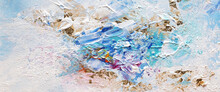 Abstract Acrylic Color And  Gold Patal Smear Blot Painting. Horizontal Texture Background.