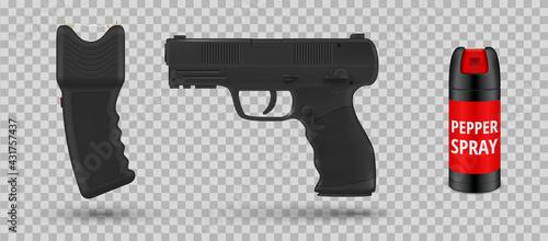 Fotografie, Obraz Collection of self defense equipment vector illustration taser or stun gun, pepp
