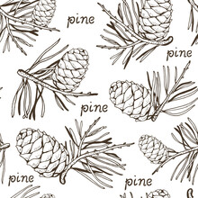 Pine Cedar Cone With A Sprig, Vector Seamless Background