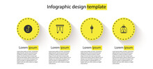 Set Fishing Hook, Folding Chair, Float And Camping Lantern. Business Infographic Template. Vector