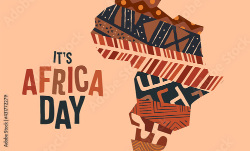 Africa Day tribal art texture continent map card - fototapety na wymiar