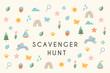 Nature Scavenger Hunt Kids Activity Illustration or Card. Vector Design