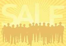 People Silhouettes In Front Of Sale Notice. Vector