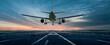 canvas print picture - Flugzeug über der Landebahn