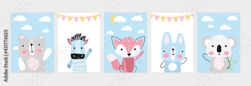 Naklejka premium Cute posters with little bear, zebra, fox, hare, koala
