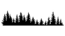 Fir Trees Silhouettes. Coniferous Spruce Horizontal Background Pattern, Black Evergreen Woods  Illustration. Beautiful Hand Drawn Panorama Of A Coniferous Forest