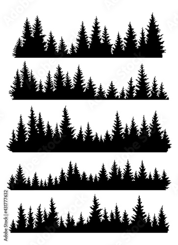 Obraz na plátně Set of fir trees silhouettes