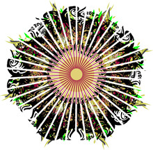 Beautiful Colored Flower With Linear Pattern. Abstract Flower With Rays Converging To The Center With The Effect Of An Explosion For Holidays And Events, Backgrounds And Textures, Wallpaper, Textiles