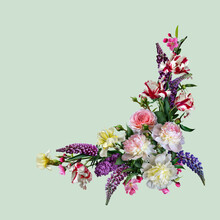 Floral Collage Isolated On Light Green Background. Digital Art.