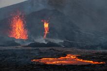 Reykjanes Peninsula, Iceland - April 4th 2021: Volcanic Eruption Reykjanes Peninsula Iceland