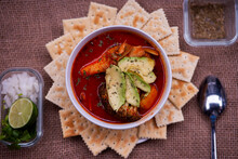 Fish Stew Cooked In A Delicious Rich And Fragant With Avocado