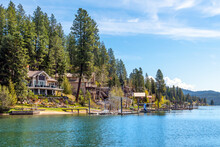 Waterfront And Water View Homes With Docks And Boat Slips At Rockford Bay, In The City Of Coeur D'Alene, Idaho, USA