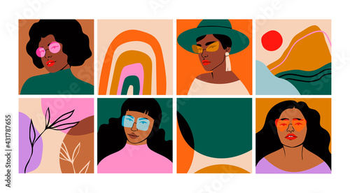 Fototapeta Set of Beautiful black Women in sunglasses and Abstract shapes. Fashion portraits, trendy backgrounds. Hand drawn Vector illustrations. Templates for cards, posters, banners, t-shirt prints obraz