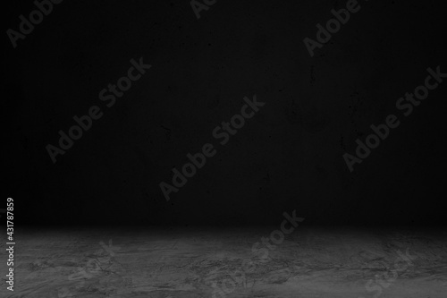 Product showcase background. Black studio room background. Use as montage for product display - fototapety na wymiar
