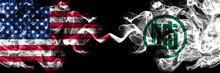 United States Of America, America, US, USA, American Vs Japan, Japanese, Gifu Prefecture Smoky Mystic Flags Placed Side By Side. Thick Colored Silky Abstract Smoke Flags.