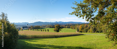 Fototapeta famous pilgrimage chapel Wilparting, view from the Salzburg highway Irschenberg, autumn landscape bavaria obraz