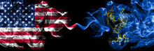 United States Of America, America, US, USA, American Vs Myanmar, Bago Division Smoky Mystic Flags Placed Side By Side. Thick Colored Silky Abstract Smoke Flags.