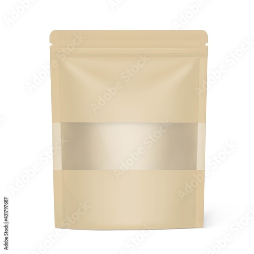 Pouch bag with ziplock and transparent window. Vector illustration. Front view. Can be use for template your design, presentation, promo, ad. EPS10.